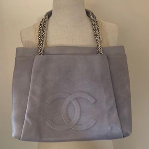 Authentic Chanel Gray Leather Tote Handbag